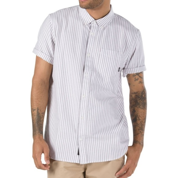 Vans Other - Vans White Stripe Houser SS Button Down Size M